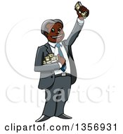 Clipart Of A Cartoon Rich Black Businessman Holding Up A Cash Bundle Royalty Free Vector Illustration by Vector Tradition SM