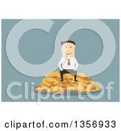 Flat Design White Businessman Sitting On Gold Bars On Blue