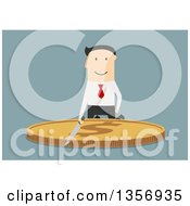 Clipart Of A Flat Design White Businessman Cutting A Giant Gold Dollar Coin With A Knife On Blue Royalty Free Vector Illustration