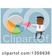 Clipart Of A Flat Design Black Businesman Taking Or Inserting A Piece To A Pie Chart On Blue Royalty Free Vector Illustration by Vector Tradition SM