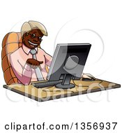 Cartoon Bespectacled Black Business Man Pointing Down At His Computer On A Desk