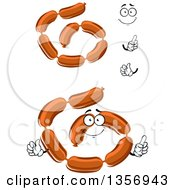 Clipart Of A Cartoon Face Hands And Sausage Links Royalty Free Vector Illustration