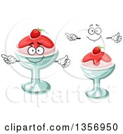 Clipart Of A Cartoon Face Hands And Strawberry Ice Cream Desserts Royalty Free Vector Illustration