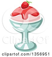 Clipart Of A Cartoon Strawberry Ice Cream Dessert Royalty Free Vector Illustration
