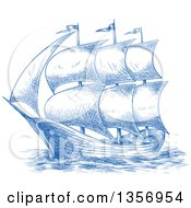 Clipart Of A Sketched Blue Sailing Tall Ship Royalty Free Vector Illustration