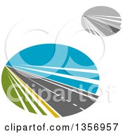 Clipart Of Colored And Grayscale Two Lane Straightaway Highway Roadd In Ovals Royalty Free Vector Illustration