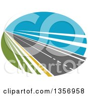 Clipart Of A Two Lane Straightaway Highway Road In An Oval Royalty Free Vector Illustration