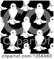 Clipart Of A Seamless Pattern Background Of Ghosts On Black Royalty Free Vector Illustration by Vector Tradition SM