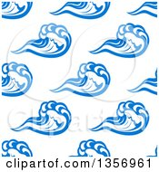 Clipart Of A Seamless Background Design Pattern Of Blue And White Ocean Waves Royalty Free Vector Illustration