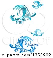 Clipart Of Blue Splash Or Surf Waves With Ocean Text Royalty Free Vector Illustration