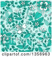 Clipart Of A Seamless Background Pattern Of Wild Raspberries And Leaves In Blue Royalty Free Vector Illustration