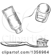 Clipart Of A Black And White Sketched Toothbrush With Paste Floss And Tube Royalty Free Vector Illustration