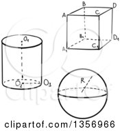 Clipart Of Black And White Sketched Geometric Shapes Of Cube Sphere And Circular Cylinder With Marked Sides And Facets Royalty Free Vector Illustration