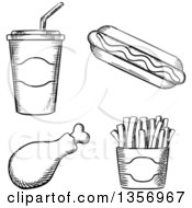 Clipart Of A Black And White Sketched Fountain Soda Hot Dog Chicken Drumstick And French Fries Royalty Free Vector Illustration by Vector Tradition SM