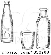 Clipart Of A Black And White Sketched Pear Juice Bottle Glass And Milk Bottle Royalty Free Vector Illustration