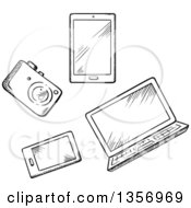 Clipart Of A Black And White Sketched Camera Tablet Laptop And Smart Phone Royalty Free Vector Illustration by Vector Tradition SM