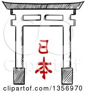 Clipart Of A Black And White Sketched Sacred Gate Torii With Japanese Writing Royalty Free Vector Illustration