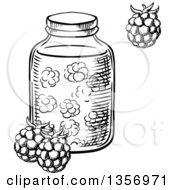 Clipart Of A Black And White Sketched Jar Of Raspberry Jam Royalty Free Vector Illustration