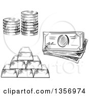 Clipart Of A Black And White Sketched Stack Of Coins Cash Money And Gold Bars Royalty Free Vector Illustration