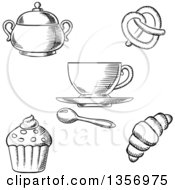 Clipart Of A Black And White Sketched Sugar Bowl Coffee Cup Spoon Soft Pretzel Croissant And Cupcake Royalty Free Vector Illustration by Vector Tradition SM