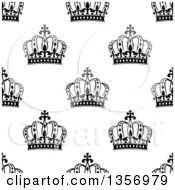 Clipart Of A Seamless Background Pattern Of Black And White Ornate Crowns Royalty Free Vector Illustration