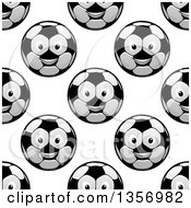 Seamless Background Pattern Of Grayscale Happy Soccer Ball Characters