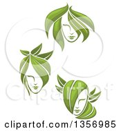 Clipart Of Female Faces With Green Leaf Hair Royalty Free Vector Illustration