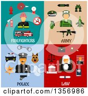 Clipart Of Flat Design Firefighter Army Police And Judge Designs Royalty Free Vector Illustration by Vector Tradition SM