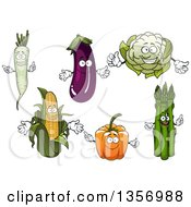 Clipart Of Cartoon Veggie Characters Royalty Free Vector Illustration