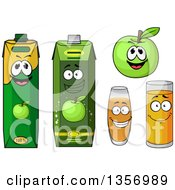 Clipart Of A Happy Green Apple And Juice Cartons And Glasses Royalty Free Vector Illustration