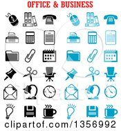 Clipart Of Black And Blue Office And Business Icons Royalty Free Vector Illustration by Vector Tradition SM