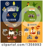 Clipart Of Flat Design Indian Religion And Cultire Icons Royalty Free Vector Illustration