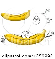 Clipart Of A Cartoon Face Hands And Bananas Royalty Free Vector Illustration