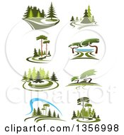 Clipart Of Park Landscapes Royalty Free Vector Illustration