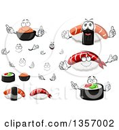 Clipart Of A Cartoon Faces Hands Red Caviar And Sushi Royalty Free Vector Illustration