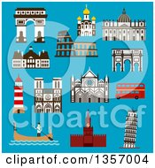 Clipart Of Flat Design Architectural Landmarks Of Italy France Russia And Great Britain On Blue Royalty Free Vector Illustration