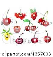 Clipart Of Cherry Rowanberry Cowberry And Sea Buckthorn Fruit Characters Royalty Free Vector Illustration