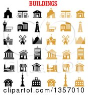 Clipart Of Black And Tan House Bank Store Office Factory School Hospital Church Apartment Gas Station Museum Tv Tower Garage Farm Mosque Castle Lighthouse And Windmill Icons Royalty Free Vector Illustration