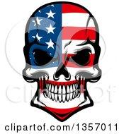 Poster, Art Print Of Grinning Evil Skull In American Flag Colors