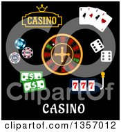 Clipart Of Flat Design Casino Items Over Text Royalty Free Vector Illustration