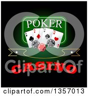 Clipart Of A Poker Design Of Playing Cards And Chips Over Text On Green And Black Royalty Free Vector Illustration by Vector Tradition SM
