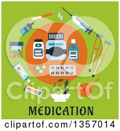 Clipart Of A Circle Of Flat Design Medicines Over Text On Green Royalty Free Vector Illustration