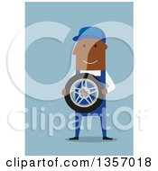 Clipart Of A Flat Design Happy Black Mechanic Holding A Tire On Blue Royalty Free Vector Illustration by Vector Tradition SM
