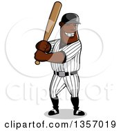 Clipart Of A Cartoon Happy Grinning Black Male Baseball Player Batting Royalty Free Vector Illustration by Vector Tradition SM