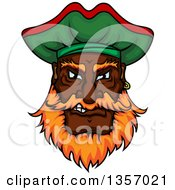 Clipart Of A Cartoon Tough Black Male Pirate Wearing A Hat Royalty Free Vector Illustration