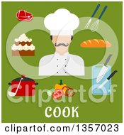 Clipart Of A Flat Design Male Chef Avatar And Cooking And Food Icons Over Text On Green Royalty Free Vector Illustration