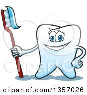 Cartoon Tooth Character Standing Proudly With A Toothbrush And Paste