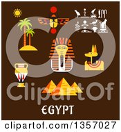 Clipart Of Flat Design Giza Pyramids Golden Mask Of Pharaoh Ancient Hieroglyphics Scarab Amulet Anubis God Amphora And Nature Landscape Of Palm Trees With Sun Over Text On Brown Royalty Free Vector Illustration