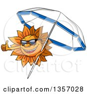 Clipart Of A Cartoon Sun Character Wearing Shades Giving A Thumb Up And Holding A Parasol Royalty Free Vector Illustration