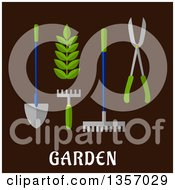 Clipart Of Flat Design Garden Tools Over Text On Brown Royalty Free Vector Illustration
